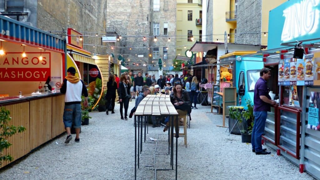 Street food courtyard in Budapest