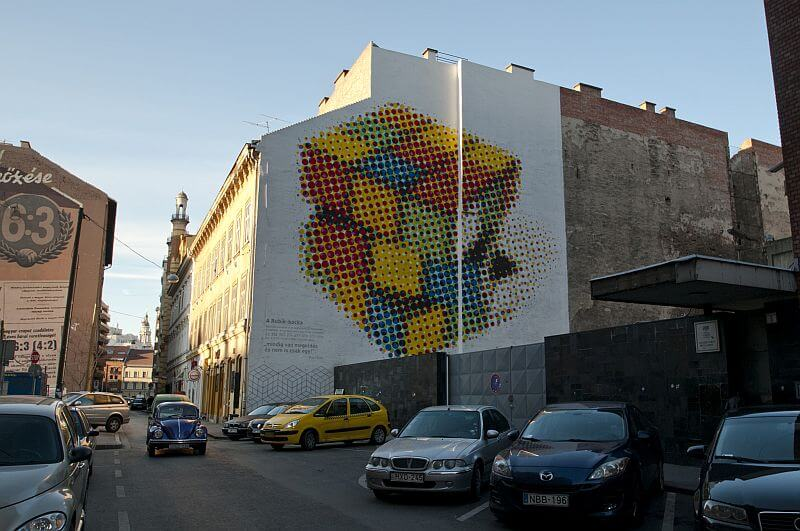 Rubik's cube street art in the Jewish district of Budapest