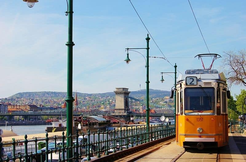 Tram number 2 in Budapest