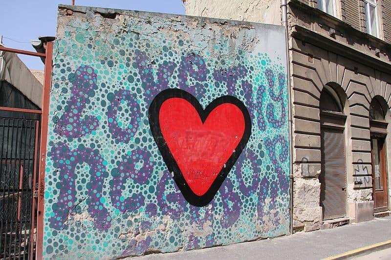 Love thy neighbour street art Budapest