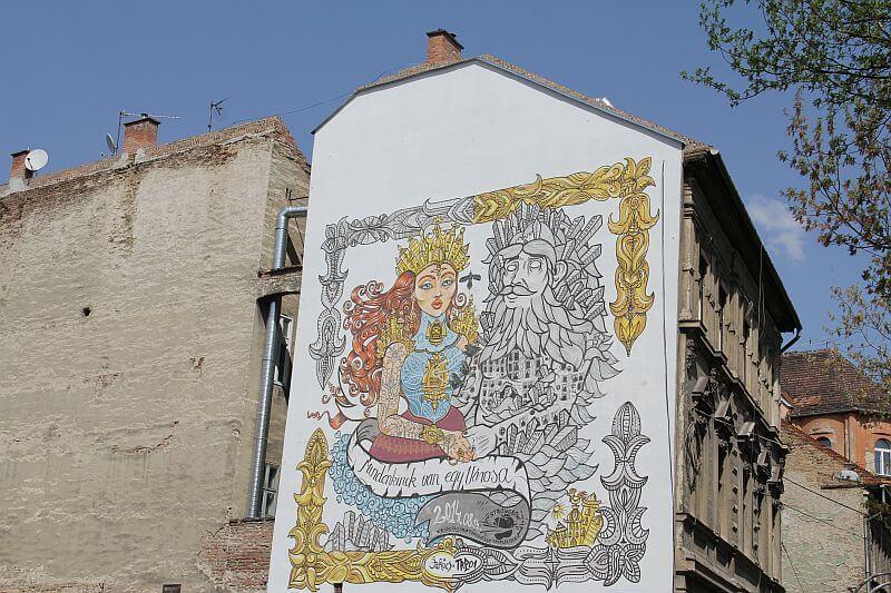 City people street art in Budapest