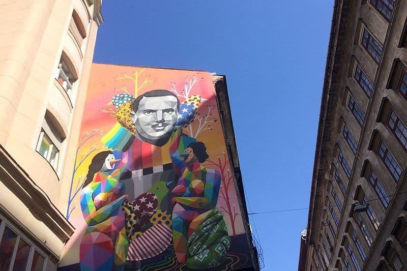 Angel San Briz mural in Budapest by Okudart