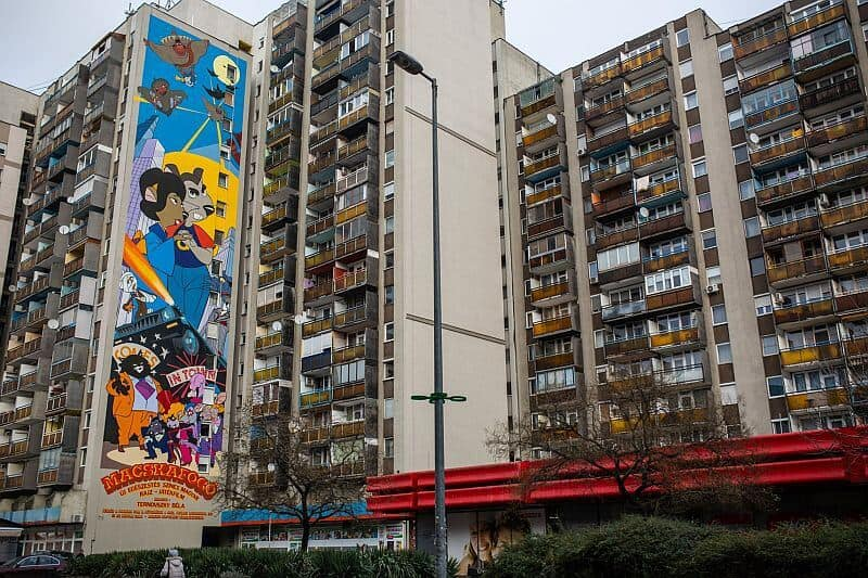 Macskafogo mural Budapest - based on an iconic animated film from 1986