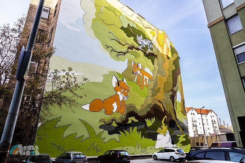 Vuk mural in District VIII of Budapest