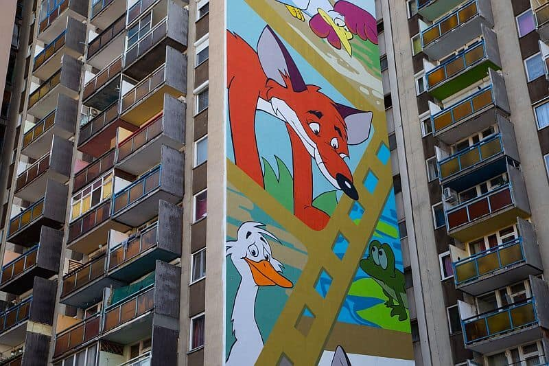 Vuk - a nostalgic mural in the District VIII of Budapest