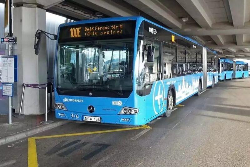 100E transfer bus Budapest airport to city center